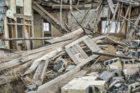 collapsed old wooden house