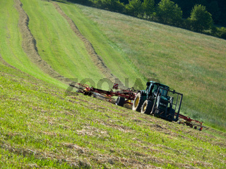 Tractor with a rotary rake in the field