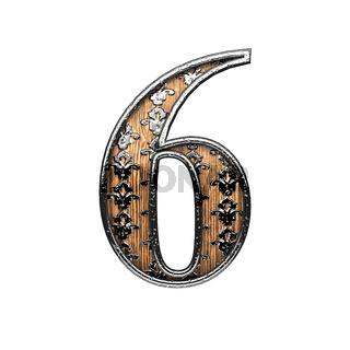 6 silver letter. 3D illustration