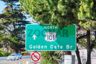 Golden Gate bridge sign in San Francisco