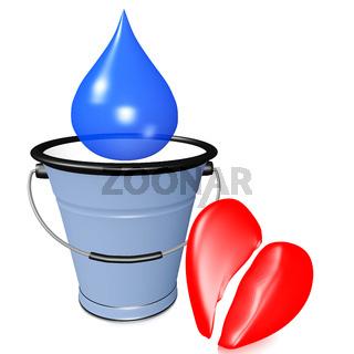 Tears bucket and broken heart