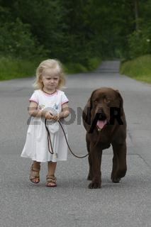 Kleines Mädchen geht mit Hund spazieren