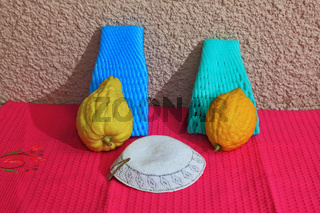 The skullcap and two ritual etrog