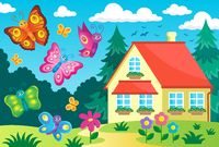 House and happy butterflies - picture illustration.