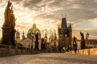 Prague Charles bridge sunrise