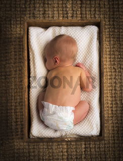 Newborn Baby In Crate