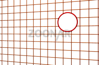Chainlink fence with round hole