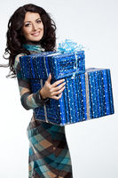 beautiful fashionable woman with gift box