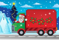 Christmas theme delivery car image 2 - picture illustration.