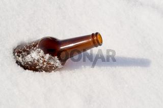 Beer Bottle in Snow