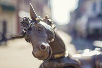 A bronze horse as fountain figure.