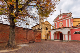 Two churches on small town square.