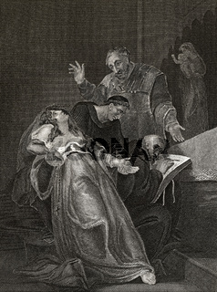 The Holy Maid of Kent, Elizabeth Barton, suffering interrogation at the hands of 2 clerics and a layman