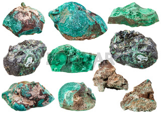 various malachite mineral gem stones isolated