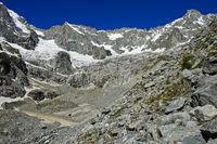 Hochalpines Kar unterhalb der Gipfel Mont Dolent