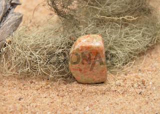 Unakit am Strand - Unakite on beach