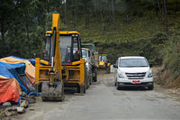 Strassenbaustelle auf dem Thimphu Punakha Highway