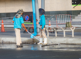 Cleaner on the parking.