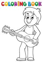 Coloring book boy guitar player theme 1 - picture illustration.