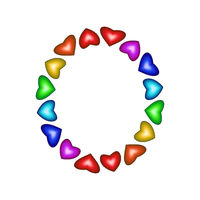 Letter O made of multicolored hearts on white background