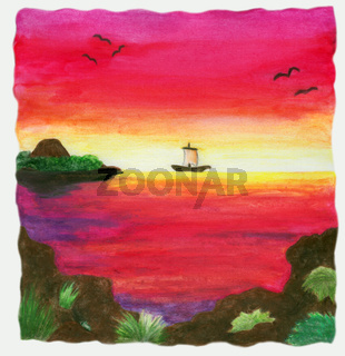 Schiff bei Sonnenuntergang (1999)