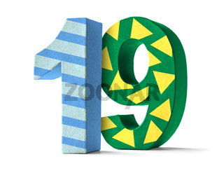 Colorful Paper Mache Number on a white background  - Number 19