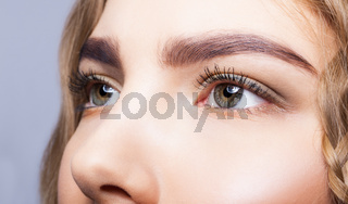 Close-up of female eyes makeup