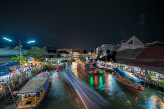 Night lights of Amphawa floating market, Thailand