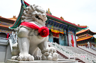 Chinese Lion Stone Sculpture in the Chinese Temple in Nonthaburi, Thailand.