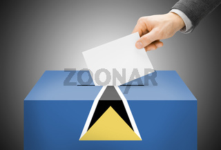Voting concept - Ballot box painted into national flag colors - Saint Lucia