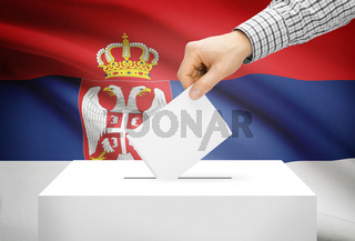 Voting concept - Ballot box with national flag on background - Serbia