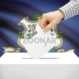 Voting concept - Ballot box with national flag on background - Connecticut