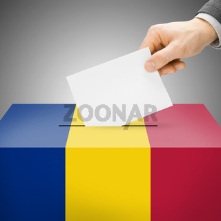 Voting concept - Ballot box painted into national flag colors - Romania