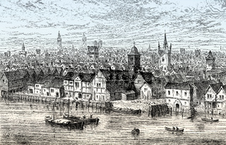 The Steelyard, the main trading base of the Hanseatic League in London, 1540