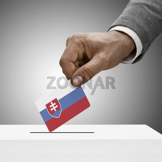 Black male holding flag. Voting concept - Slovakia