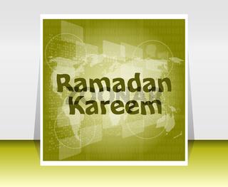digital screen with Ramadan Kareem word on it