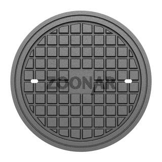 metallic manhole cover isolated on white background