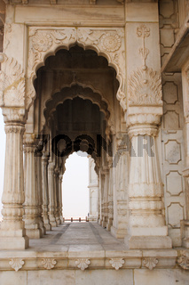 Close up of arches and pillars at Jaswant Thada Kings monuments