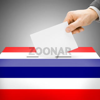 Voting concept - Ballot box painted into national flag colors - Thailand