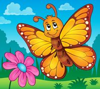 Happy butterfly topic image 2 - picture illustration.