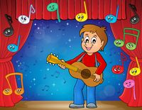 Boy guitar player on stage theme 2 - picture illustration.
