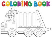 Coloring book garbage collection truck - picture illustration.