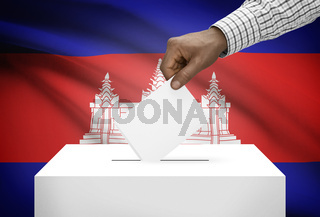 Ballot box with national flag on background - Cambodia