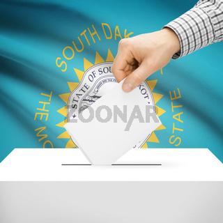 Voting concept - Ballot box with national flag on background - South Dakota