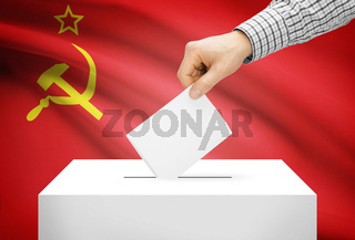 Voting concept - Ballot box with national flag on background - USSR