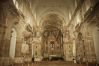 Interior Of Church of St. Francis of Assisi as seen from the Basilica of Bom Jesus, Old Goa, India