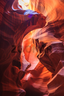 Colorful sandstone walls of Upper and Lower Antelope Canyon near Page Arizona