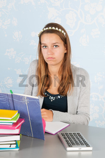 Teen girl with homework