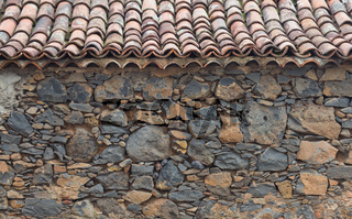 rural house wall, old roof tiles -background , copy space