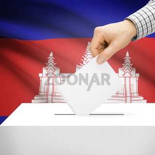 Voting concept - Ballot box with national flag on background - Cambodia